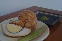 tea-spiced marbled boiled egg with green tea salt