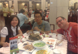 Inside Hangzhou Lou Wai Lou restaurant.   We behaved like tourists and ordered all the local speciality dishes.