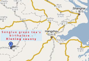 Map showing Xiuning County - birthplace of Songluo green tea