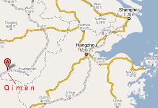 Qimen county where the famous Qimen Black tea (aka