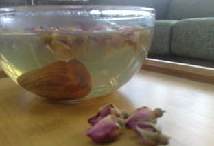 The sweet Rose and Honey Date 'tea' helps with digestion.