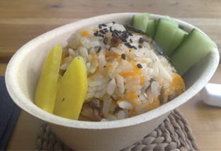 tea rice onigiri with shitake mushroom and miso soy filling