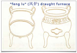 Lu Yu made this three-legged draught/wind furnace ('feng lu' 风炉) taking inspirations from the ancient 'ding' (鼎) cooking vessel with 2 handles.