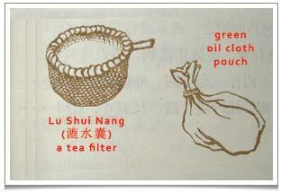 Lu Yu Chajing Chapter 4: 'Lu Shui Nang', a filter used when pouring boiled tea for drinking.