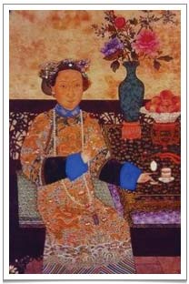 A painting of the Empress Dowager in her casual costume drinking tea from her gaiwan teacup.