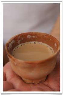 A chullarh of creamy spicy and sweet masala chai. Chullarh is a single-use cup and when the tea is finished, one simply throws the cup on to the ground which breaks into pieces and disintegrates – return to mother earth, as they say..