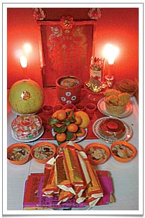 Offerings to the Earth God at my mom's place.  There are five cups of Tie Luo Han tea behind the well laid-out plate of clementines.