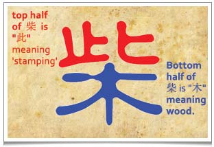 The first essential item  for living is firewood, or 'cai': the Chinese word is made up of a character for 'stamping' (by foot) on top of the character for 'wood'.