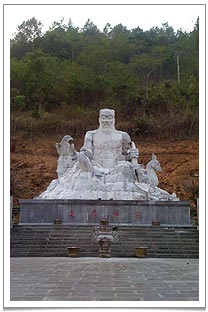 The huge statue of Shen Nong - a mythical character known as father of Chinese agriculture.
