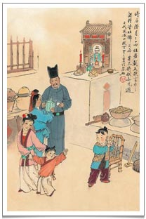 An old painting depicting household offering sweet teas and sweet cakes to the Kitchen God just before Chinese New Year.
