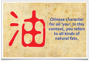 The Chinese Character for oil, referring to all kinds of natural fats. 看似平凡的生活,蕴含着深刻的医理: '柴米油盐酱醋茶' 之油