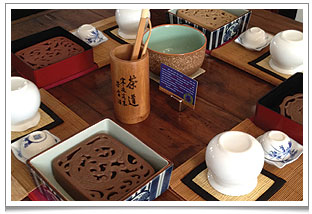 Enjoy the calmness of the GongFu tea ritual at every table in chaya teahouse.