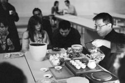 Tea Appreciation Taster Workshops at The British Museum - Warming the purple clay tea pot